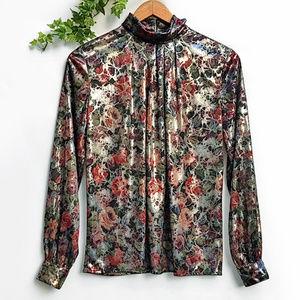 Vintage Dressbarn Shiny Liquid Floral Blouse